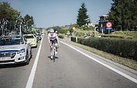 André Greipel (DEU/Lotto-Soudal) returning to the peloton after a 'nature break'<br /> <br /> 12th Eneco Tour 2016 (UCI World Tour)<br /> Stage 7: Bornem › Geraardsbergen (198km)
