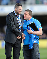 Toby Booth, Bath Rugby First Team Coach, celebrates with Ryan Caldwell of Bath Rugby after winning the Aviva Premiership match between Bath Rugby and Leicester Tigers at The Recreation Ground on Saturday 20th April 2013 (Photo by Rob Munro)