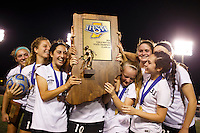 Penn players celebrate a 2-0 win against Brebeuf Jesuit in the IHSAA Class 2A Girls Soccer State Championship Game on Saturday, Oct. 29, 2016, at Carroll Stadium in Indianapolis. Special to the Tribune/JAMES BROSHER