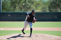 Chicago White Sox relief pitcher Luis Ledo (46) delivers a pitch during an Instructional League game against the Kansas City Royals at Camelback Ranch on September 25, 2018 in Glendale, Arizona. (Zachary Lucy/Four Seam Images)