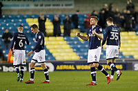 Shaun Hutchinson of Millwall celebrates Millwall FC's first home win of 2018 during the Sky Bet Championship match between Millwall and Sheff Wednesday at The Den, London, England on 20 February 2018. Photo by Carlton Myrie.