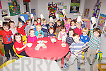 Children from Puffins pre-school group Cahersiveen on Tuesday morning taking part in the Cherrios Breakfast Morning in aid of Childline, pictured front l-r; Clair Murphy, Sadhbh O'Sullivan, Aidan Fogarty, Sadhbh Garvey, Aoife Cournane, Katie O'Connor, Cathal O'Driscoll, back l-r; Adam Nassar, Yasmin Kelly, Edel Sands, Emily Quinlan, Joe Mahony, Breda Marie Kelly, Cillian Cronin, Cathal McCrohan, Liam Horgan, Muireann Teehan, Christina Roddy, Sean Griffin, Finn O'Neill & Killian O'Connell.