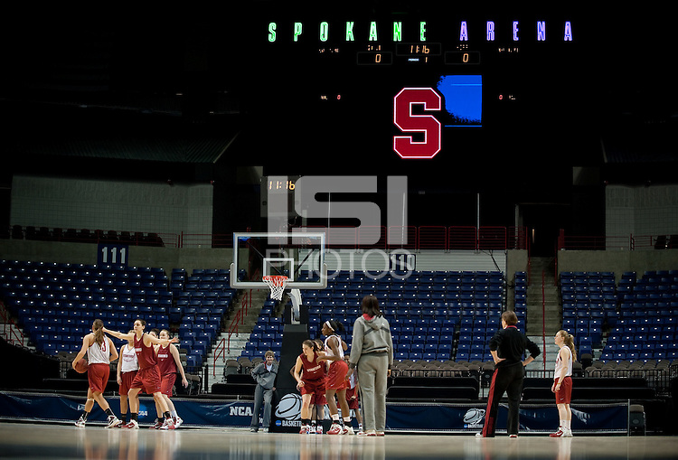 SPOKANE, WA - MARCH 25, 2011: Stanford Cardinal at the Stanford Women's Basketball, NCAA West Regionals practice at Spokane Arena on March 25, 2011.