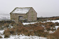 Snow on stone barn near Botton Head, Lancashire between High Bentham and Slaidburn.