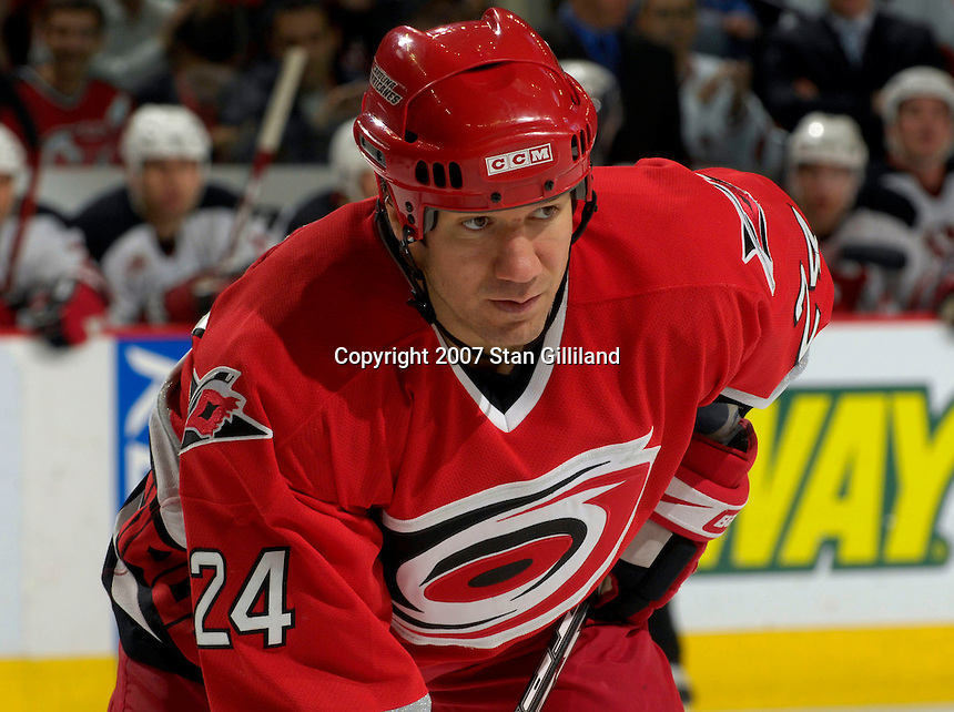 Carolina Hurricanes' Scott Walker readies for a faceoff against the New Jersey Devils Thursday, March 15, 2007 at the RBC Center in Raleigh, NC. New Jersey won 3-2.