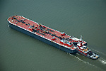 Aerial view of Bouchard ATB docked at Port of Wilmington Delaware