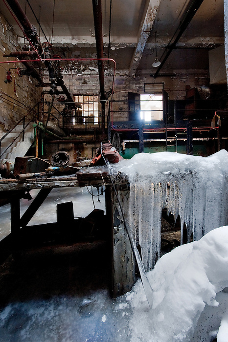 Flooded Boiler Room in winter with Ice