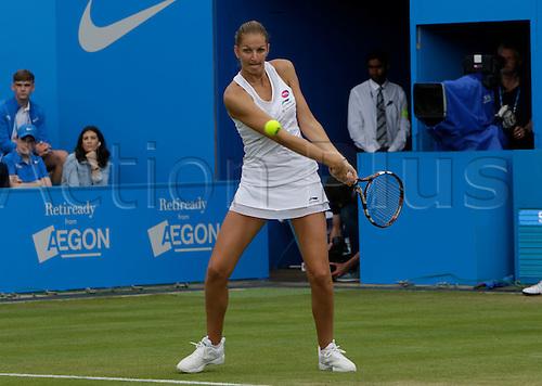 20.06.2015.  Birmingham, England. Aegon Classic Tennis Tournament. Karolina Pliskova (Cze) in the rain-delayed semi-final action against Kristina Mladenovic (Fra).