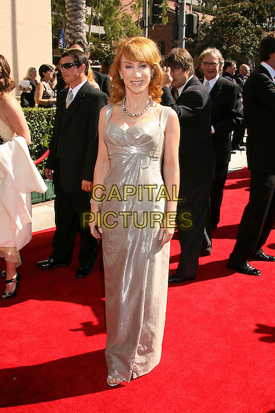KATHY GRIFFIN.2007 Primetime Creative Arts Emmy Awards held at the Shrine Auditorium,.Los Angeles, California, USA, 08 September 2007..full length silver grey dress.CAP/ADM/RE.©Russ Elliot/AdMedia/Capital Pictures.