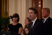 Brett Kavanaugh delivers remarks after United States President Donald J. Trump announces his nomination to be Associate Justice of the United States Supreme Court in the East Room of the White House on July 9th, 2018 in Washington, DC. <br /> CAP/MPI/RS<br /> &copy;RS/MPI/Capital Pictures