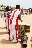Drummers and Gymnasts Perform to Welcome Visitors to Biannual Arts Festival, Goree Island, Senegal.