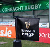 9th February 2018, Galway Sportsground, Galway, Ireland; Guinness Pro14 rugby, Connacht versus Ospreys; View of a Guinness PRO14 flag on a corner of The Sportsgrounds