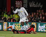 Romelu Lukaku of Manchester United celebrates scoring the second goal during the premier league match at the Vitality Stadium, Bournemouth. Picture date 18th April 2018. Picture credit should read: David Klein/Sportimage