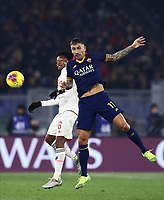 12th January 2020; Stadio Olympico, Rome, Italy; Italian Serie A Football, Roma versus Juventus; Juan Cuadrano of Juventus challenges Aleksandar Kolarov of AS Roma - Editorial Use
