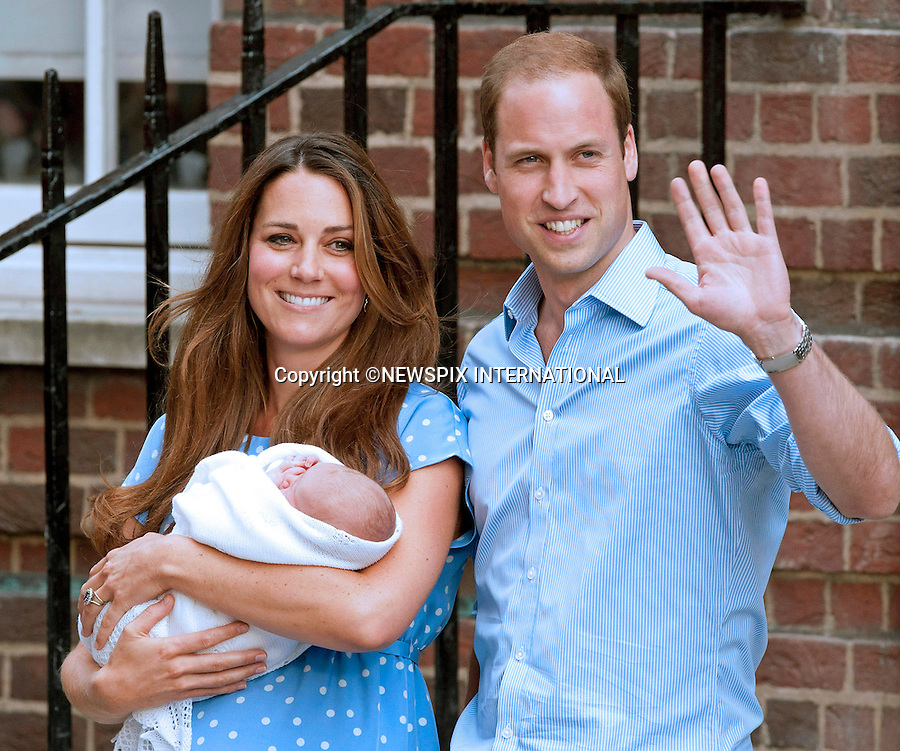 23.07.2013; LONDON : CATHERINE, DUCHESS OF CAMBRIDGE, PRINCE WILLIAM AND NEW BABY<br /> who was born on 22nd July 2013 at 8lbs 4oz, leave the Lindo Wing, St. Mary's Hospital, Paddington,London<br /> Mandatory Credit Photo: &copy;Robert Piper/NEWSPIX INTERNATIONAL<br /> <br /> **ALL FEES PAYABLE TO: &quot;NEWSPIX INTERNATIONAL&quot;**<br /> <br /> IMMEDIATE CONFIRMATION OF USAGE REQUIRED:<br /> Newspix International, 31 Chinnery Hill, Bishop's Stortford, ENGLAND CM23 3PS<br /> Tel:+441279 324672  ; Fax: +441279656877<br /> Mobile:  07775681153<br /> e-mail: info@newspixinternational.co.uk