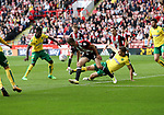 Chris Basham of Sheffield Utd in action with Christoph Zimmermann of Norwich City during the Championship match at Bramall Lane Stadium, Sheffield. Picture date 16th September 2017. Picture credit should read: Jamie Tyerman/Sportimage