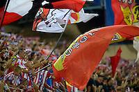 MADRID - ESPAÑA - 22-08-2014: Hinchas de Atletico de Madrid celebran la victoria sobre Real Madrid, durante partido de vuelta de la Super Copa de España, Atletico de Madrid  y Real Madrid, en el estadio Vicente Calderon de la ciudad de Madrid, España. / Fans of Atletico de Madrid, celebrate the victory against Real Madrid, during a match for the second leg, between Atletico de Madrid  y Real Madrid of the Super Copa de España in the Vicente Calderon stadium in Madrid, Spain  Photo: Asnerp / Patricio Realpe / VizzorImage.