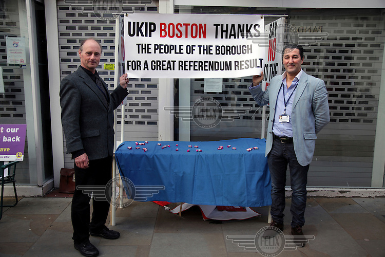 A UKIP (United Kingdom Independence Party)  councillors Jonathan Noble and Anton Dani, who is of Moroccan-French origin, celebrate the success of the 'leave' vote in the EU referendum. <br /> The town of Boston had the country's highest proportion of 'leave' votes cast in the EU referendum with almost 76 percent of ballots cast for Brexit. Lincolnshire has, in recent years, seen an influx of EU workers drawn to the area's agricultural industry. The 2011 census found about 13 percent of Boston's residents were born in Eastern Europe and migrated to the UK since 2004.