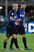 Radja Nainggolan of Internazionale and Mauro Icardi of Internazionale during the Serie A 2018/2019 football match between Fc Internazionale and AC Milan at Giuseppe Meazza stadium Stadium, Milano, October, 21, 2018 <br />  Foto Andrea Staccioli / Insidefoto