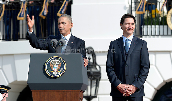 United States President Barack Obama, left, hosts an Arrival Ceremony opening the Official Visit of Prime Minister Justin Trudeau of Canada, right, on the South Lawn of the White House in Washington, DC on Thursday, March 10, 2016. <br /> Credit: Olivier Douliery / Pool via CNP/MediaPunch
