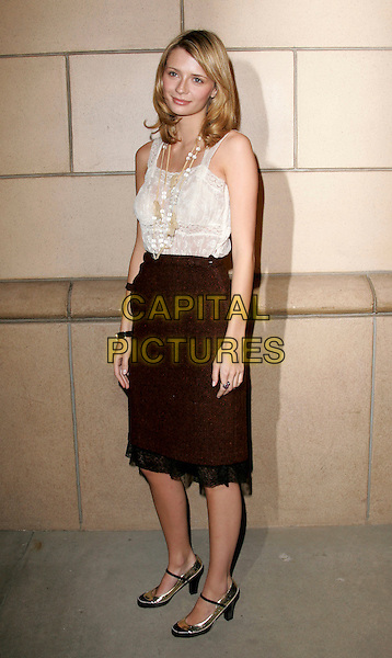 """MISCHA BARTON.attends """"The O.C. Revealed"""" presented by The Academy of Television Arts & Sciences held at Warner Brother Studios at The Steven Ross Theatre in Burbank, California, USA, March 21st 2005.full length black skirt white cream top tucked in  gold shoes necklace pearls beads.www.capitalpictures.com.sales@capitalpictures.com.©Debbie VanStory/Capital Pictures"""