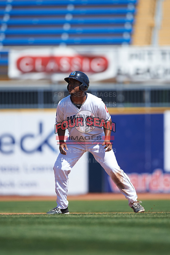 Lake County Captains designated hitter Juan De La Cruz (23) leads off second base during a game against the South Bend Cubs on July 27, 2016 at Classic Park in Eastlake, Ohio.  Lake County defeated South Bend 5-4.  (Mike Janes/Four Seam Images)