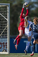 Sanford, FL - Saturday Oct. 14, 2017:  The Courage goalkeeper goes up high catch a cross during a US Soccer Girls' Development Academy match between Orlando Pride and NC Courage at Seminole Soccer Complex. The Courage defeated the Pride 3-1.