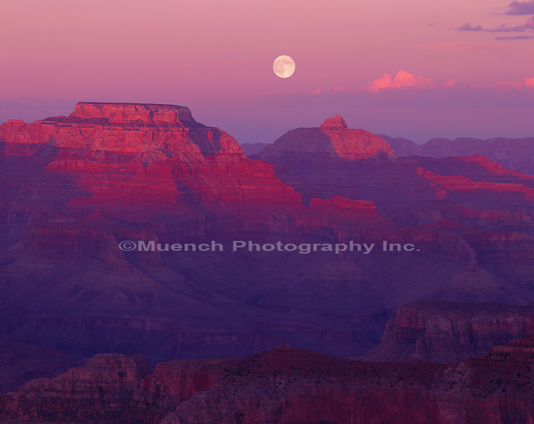 """Moonrise, Vishnu Temple, Wotans Throne, South Rim Grand Canyon NP  ARIZONA"""