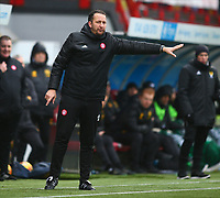 2nd February 2020; New Douglas Park, Hamilton, South Lanarkshire, Scotland; Scottish Premiership, Hamilton Academical versus Celtic; Hamilton Academical coach Guillaume Beuzelin gives instructions from the touchlines in the place of suspended manager Brian Rice