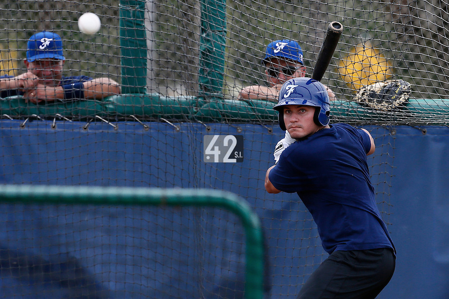 19 September 2012: France Carlos Hereaud hits the ball during the batting practice prior to Team France friendly game won 6-3 against Palm Beach State College, during the 2012 World Baseball Classic Qualifier round, in Lake Worth, Florida, USA.