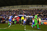 Wigan Athletic 1 Rubin Kazan 1, 24/10/2013. DW Stadium, Europa League Group D. Wigan Athletic embark on their first European campaign having won the FA Cup the previous season. The DW Stadium is temporarily known as The Wigan Athletic Stadium for Europa League fixtures. The two teams come onto the pitch. Photo by Paul Thompson.