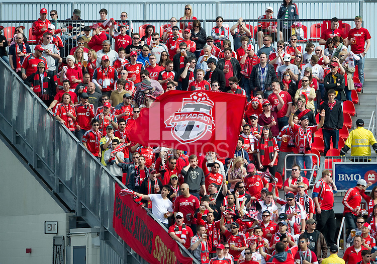 23 April 2011: The Toronto FC fans show their support during an MLS game between the Columbus Crew and the Toronto FC at BMO Field in Toronto, Ontario Canada..The game ended in a 1-1 draw.