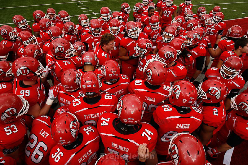 Trent Nelson  |  The Salt Lake Tribune.Utah players huddle before the game, Utah vs. Colorado, college football at Rice-Eccles Stadium in Salt Lake City, Utah, Friday, November 25, 2011