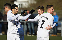 Torjubel SKV Büttelborn um Pascal Wicht, Nils Beisser - 25.02.2018: SKV Büttelborn vs. SV Unter-Flockenbach, Gruppenliga Darmstadt