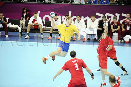 10.08.2012. London, England.  Ekdahl You Rietz Kim Sweden. 2012 London Olympic games mens handball semi-final. Sweden versus Hungary.   Sweden beat Hungary by a score of 27-26 to reach Olympic men's handball final for 4th time