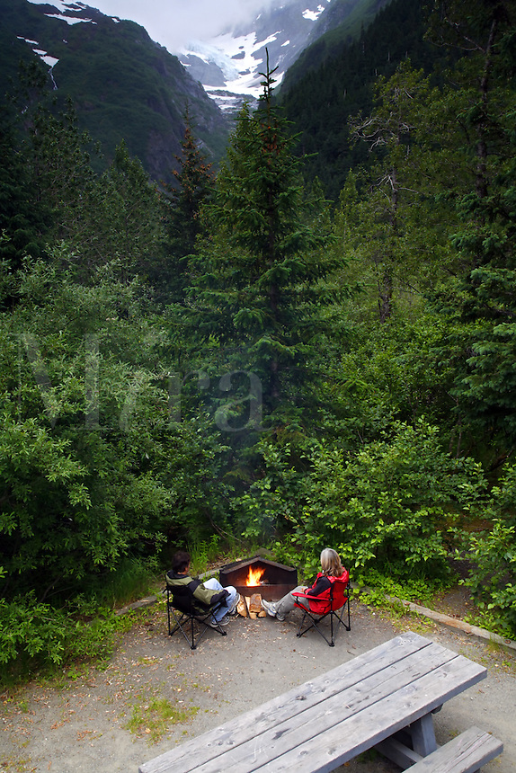 Camping at Williwaw Campground, Portage Valley, Chugach National Forest, Alaska.