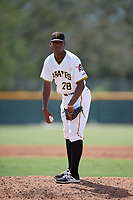 Pittsburgh Pirates pitcher Wilmer Contreras (29) looks in for the sign during an Instructional League intrasquad black and gold game on October 11, 2017 at Pirate City in Bradenton, Florida.  (Mike Janes/Four Seam Images)