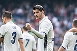 Alvaro Morata of Real Madrid celebrates after scoring a goal during the match of La Liga between Real Madrid and RCE Espanyol at Santiago Bernabeu  Stadium  in Madrid , Spain. February 18, 2016. (ALTERPHOTOS/Rodrigo Jimenez)