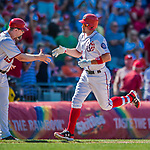 30 July 2017: Washington Nationals first baseman Ryan Zimmerman rounds the bases after hitting his second home run of the game, a solo shot to right center in the 7th inning, against the Colorado Rockies at Nationals Park in Washington, DC. With the homer Zimmerman adds to his lead as Washington's all-time home run leader, having passed Frank Howard with his 238th career longball in the 3rd inning. The Rockies defeated the Nationals 10-6 in the second game of their 3-game weekend series. Mandatory Credit: Ed Wolfstein Photo *** RAW (NEF) Image File Available ***