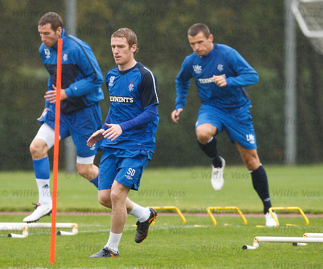 Steven Davis looking determined at training