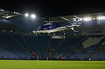 The owners helicopter at Leicester City lands on the pitch - English League One - Scunthorpe Utd vs Sheffield Utd - Glandford Park Stadium - Scunthorpe - England - 19th December 2015 - Pic Simon Bellis/Sportimage