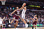 DALLAS, TX - MARCH 31:  Victoria Vivians #35 of the Mississippi State Lady Bulldogs attempts to block a shot from Napheesa Collier #24 of the Connecticut Huskies during the 2017 Women's Final Four at American Airlines Center on March 31, 2017 in Dallas, Texas. (Photo by Justin Tafoya/NCAA Photos via Getty Images)