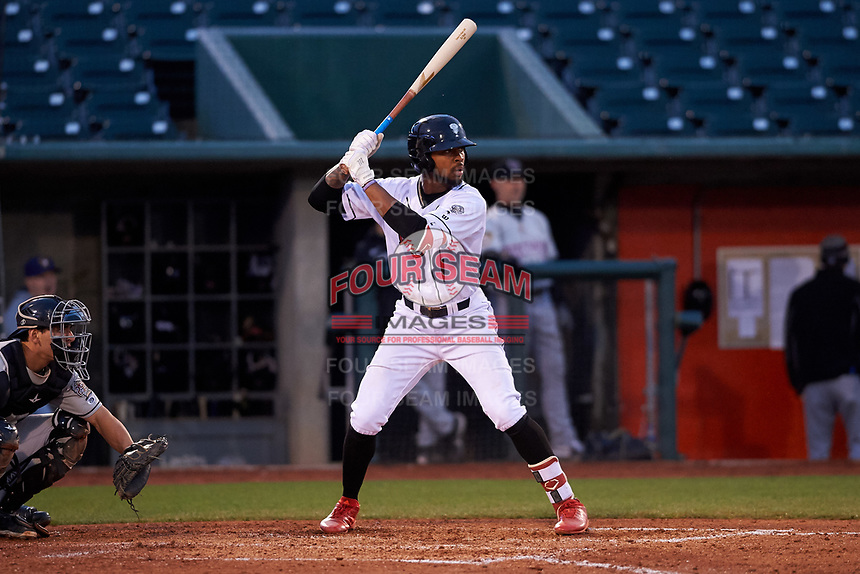 Lansing Lugnuts right fielder DJ Neal (7) during a Midwest League game against the Wisconsin Timber Rattlers at Cooley Law School Stadium on May 1, 2019 in Lansing, Michigan. Wisconsin defeated Lansing 2-1 in the second game of a doubleheader. (Zachary Lucy/Four Seam Images)