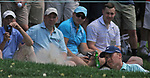 Cromwell, CT-24 JUNE 24 2017-062417MK07 Jordan Spieth chips out of the bunker along the fifth green Saturday afternoon during the third round of the 2017 Travelers Championship at the TPC River Highlands in Cromwell.  Michael Kabelka / Republican-American