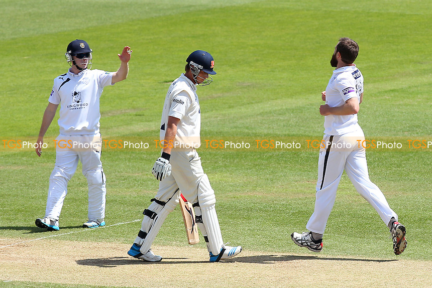 James Tomlinson (R) of Hampshire claims the wicket of Tom Westley (C) - Hampshire CCC vs Essex CCC - LV County Championship Division Two Cricket at the Ageas Bowl, West End, Southampton - 17/06/14 - MANDATORY CREDIT: Gavin Ellis/TGSPHOTO - Self billing applies where appropriate - 0845 094 6026 - contact@tgsphoto.co.uk - NO UNPAID USE