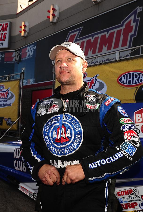 Apr. 3, 2011; Las Vegas, NV, USA: NHRA funny car driver Robert Hight after winning the Summitracing.com Nationals at The Strip in Las Vegas. Mandatory Credit: Mark J. Rebilas-