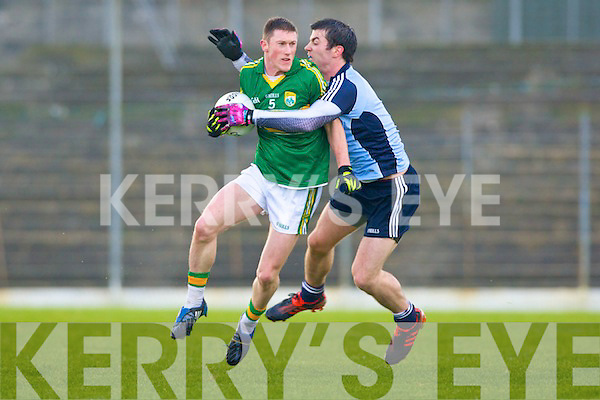 Michael Darragh McAuley Dublin wraps up Jonathan Lyne in mid air during Sunday League clash in Dublin