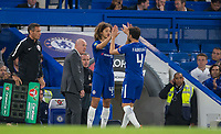 Ethan Ampadu of Chelsea replaces Cesc Fabregas of Chelsea to make his debut during the Carabao Cup (Football League cup) 23rd round match between Chelsea and Nottingham Forest at Stamford Bridge, London, England on 20 September 2017. Photo by Andy Rowland.