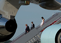 United States President Donald Trump walks off Air Force One with first lady Melania and their son Barron as he returns from Florida, at Joint Base Andrews, Maryland on Sunday, April 16, 2017. <br /> CAP/MPI/RS<br /> &copy;RS/MPI/Capital Pictures