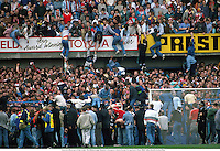 Fans are lifted out of the crush, The Hillsborough Disaster, Liverpool v Notts Forest, FA Cup Semi-Final, 890415. Mike Hewitt/Action Plus...1989.soccer.football.tragedy.crowd.crowds.supporters.fans.spectators